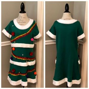 CHRISTMAS TREE DECORATED HOLIDAY SWEATER DRESS